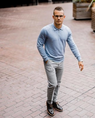 How to wear: light blue polo neck sweater, grey dress pants, black leather brogues, silver watch