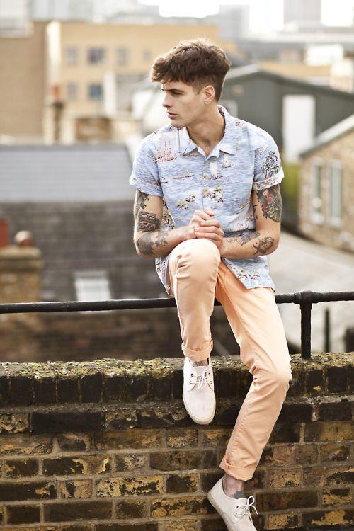 Mens Light Blue Print Short Sleeve Shirt Fashion