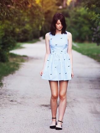 Womens Light Blue Print Skater Dress Black Suede Ballerina Shoes