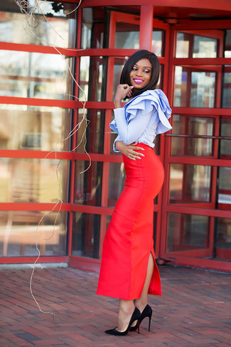 1fececacdd How to Wear a Red Maxi Skirt (14 looks   outfits)
