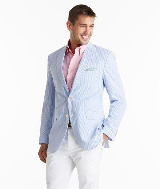 Men's Light Blue Seersucker Blazer, Pink Long Sleeve Shirt, White ...