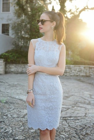 ... Women s Light Blue Lace Sheath Dress 61d294f6d