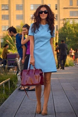 How to wear: light blue shift dress, brown leopard suede ballerina shoes, burgundy leather tote bag, dark brown sunglasses