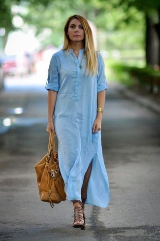 How to wear: light blue shirtdress, brown leather gladiator sandals, tan leather tote bag, gold bracelet