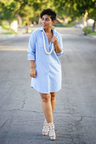 How to wear: light blue vertical striped shirtdress, white leather heeled sandals, white necklace, gold earrings