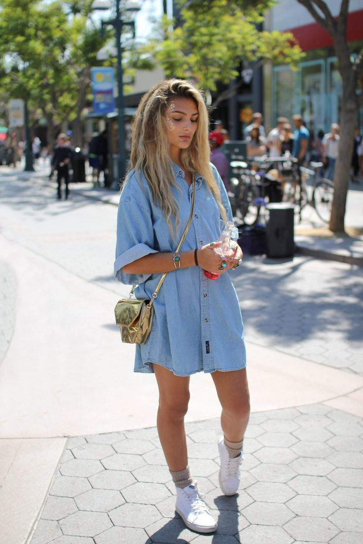 Womens Light Blue Denim Shirtdress White Canvas High Top Sneakers