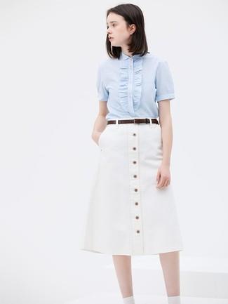 How to wear: light blue short sleeve button down shirt, white button skirt, dark brown leather belt