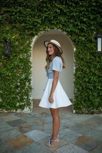 How to wear: light blue short sleeve button down shirt, white skater skirt, light blue canvas wedge sandals, beige straw hat