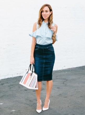 64487c123 ... Women's Light Blue Sleeveless Button Down Shirt, Navy Denim Pencil Skirt,  White Leather Pumps