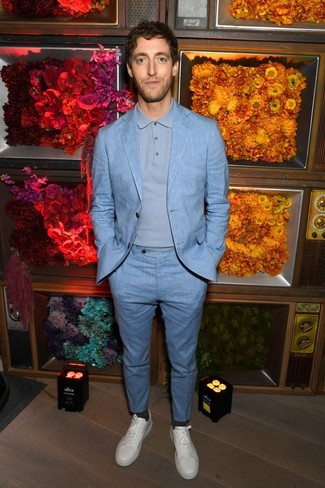 Thomas Middleditch wearing Light Blue Suit, Light Blue Polo Neck Sweater, White Leather Low Top Sneakers, Charcoal Socks