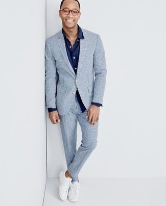 Navy Dress Shirt Outfits For Men: Putting together a navy dress shirt and a light blue check suit will be a good exhibition of your outfit coordination savvy. You could perhaps get a little creative with shoes and introduce white canvas low top sneakers to the equation.