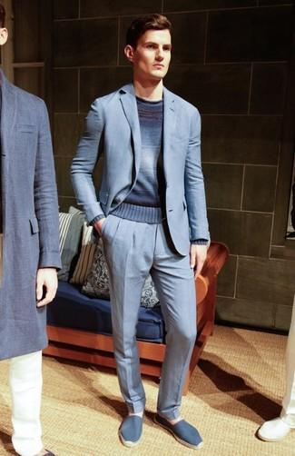 How to wear: light blue suit, navy ombre crew-neck sweater, blue canvas espadrilles