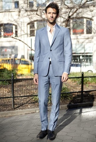 How to Wear a Light Blue Suit: For masculine sophistication with a modern finish, you can easily go for a light blue suit and a white dress shirt. Balance out this outfit with more relaxed shoes, like this pair of black leather derby shoes.