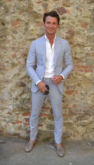 How to wear: light blue suit, white dress shirt, grey suede tassel loafers, black sunglasses