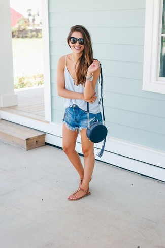 How to wear: light blue silk tank, blue denim shorts, brown leather thong sandals, navy leather crossbody bag