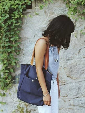 How to wear: light blue tank, white jeans, navy canvas tote bag