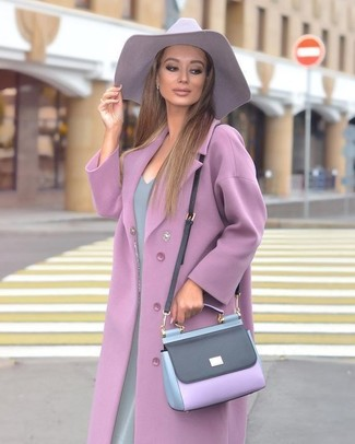 Women's Light Violet Coat, Grey Sheath Dress, Light Violet Leather Crossbody Bag, Light Violet Hat