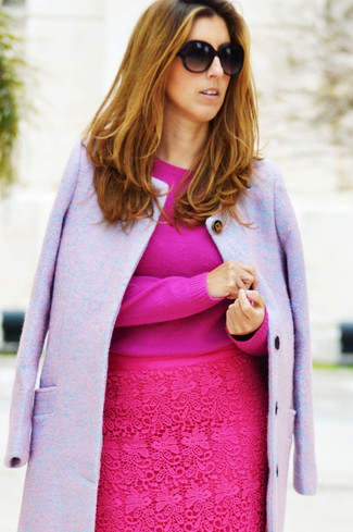How to Wear a Pink Pencil Skirt: This smart casual pairing of a light violet coat and a pink pencil skirt can take on different nuances depending on the way you style it out.