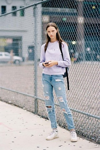 How to wear: light violet crew-neck sweater, light blue ripped boyfriend jeans, white low top sneakers, black backpack