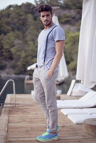 How to wear: light violet crew-neck t-shirt, grey chinos, aquamarine athletic shoes, navy suspenders