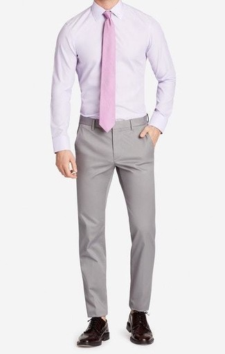 How to wear: light violet dress shirt, grey chinos, dark brown leather brogues, pink tie
