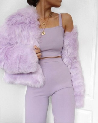 Pair a light violet fur jacket with a J.Crew women's Round Locket Pendant for a stylish and sophisticated look. This getup is also perfect if you're scouting for summer wear to get through a slow day at work.