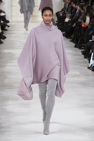 You can look incredibly chic without really trying in a light violet poncho. If you're hesitant about how to finish, a pair of grey suede over the knee boots is a safe option.
