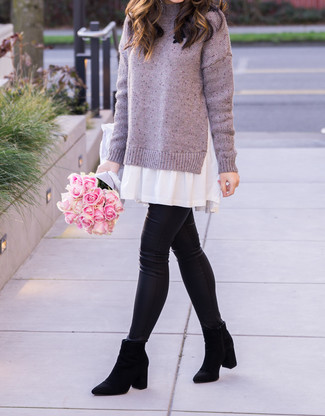 How to wear: light violet sweater dress, black leather leggings, black suede chelsea boots