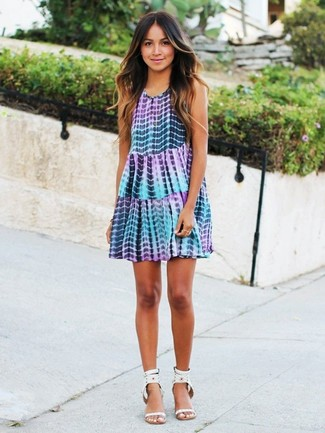 How to wear: light violet tie-dye swing dress, white studded leather heeled sandals