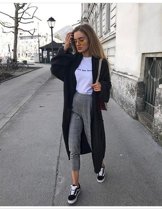 How to wear: black long cardigan, white and black print crew-neck t-shirt, grey check wool skinny pants, black and white canvas low top sneakers