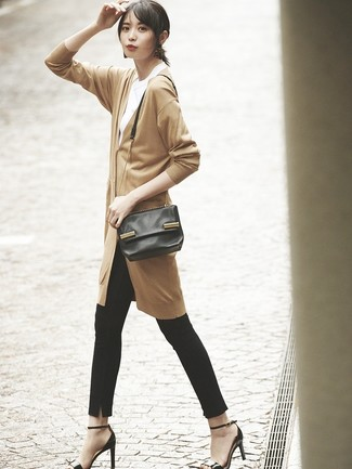 How to wear: tan long cardigan, white crew-neck t-shirt, black skinny pants, black leather heeled sandals