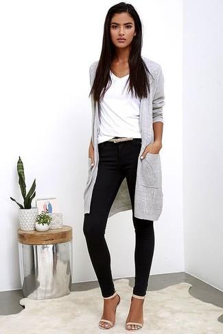 How to wear: grey long cardigan, white v-neck t-shirt, black skinny pants, beige leather heeled sandals