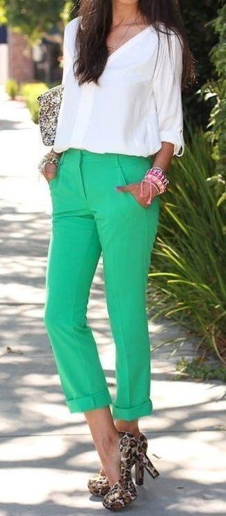 How to wear: white long sleeve blouse, green chinos, tan leopard suede pumps, gold sequin clutch