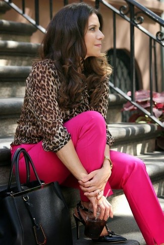 How to wear: brown leopard long sleeve blouse, hot pink dress pants, black leather pumps, black leather tote bag