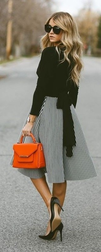 How to wear: black long sleeve blouse, white and black vertical striped full skirt, black leather pumps, orange leather handbag