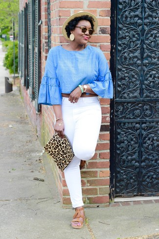 How to wear: light blue chambray long sleeve blouse, white jeans, tan leather gladiator sandals, tan leopard suede clutch