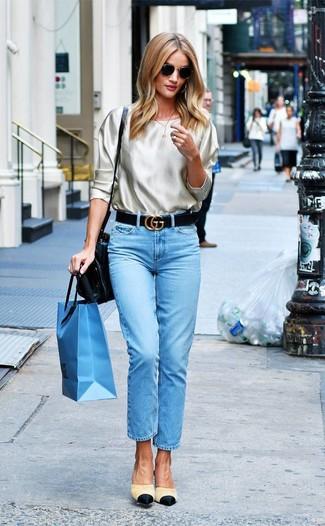 How to wear: beige silk long sleeve blouse, light blue jeans, beige canvas mules, black leather satchel bag