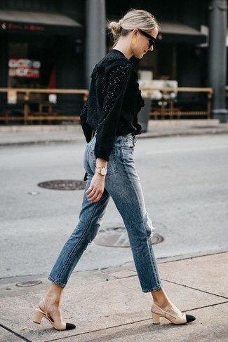 How to wear: black eyelet long sleeve blouse, blue jeans, black and tan leather pumps, black sunglasses
