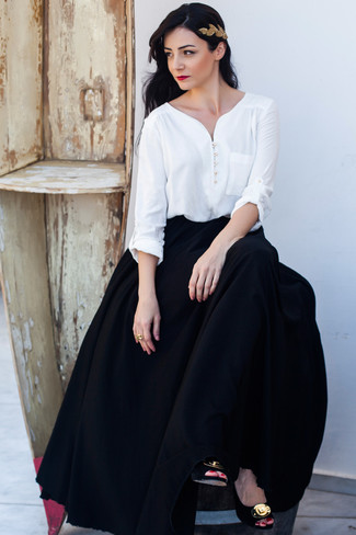 How to wear: white long sleeve blouse, black pleated maxi skirt, black and gold embellished suede pumps, gold headband