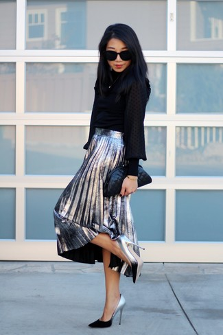 How to wear: black long sleeve blouse, silver pleated midi skirt, silver leather pumps, black quilted leather clutch