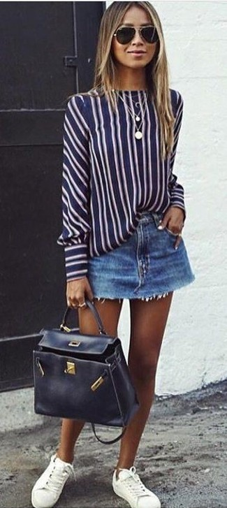 How to wear: navy and white vertical striped long sleeve blouse, blue denim mini skirt, white leather low top sneakers, black leather satchel bag