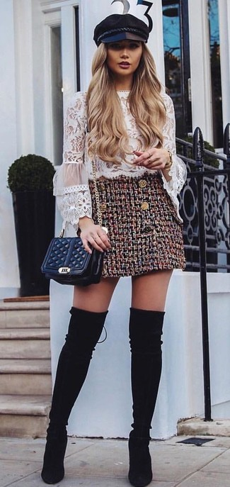 How to wear: white ruffle lace long sleeve blouse, burgundy tweed mini skirt, black suede over the knee boots, black quilted leather crossbody bag