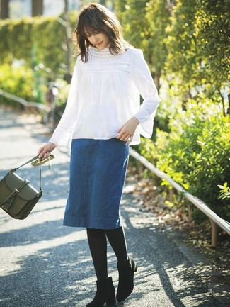 How to wear: white long sleeve blouse, blue denim pencil skirt, black suede ankle boots, olive leather crossbody bag