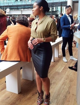 How to wear: olive long sleeve blouse, black leather pencil skirt, grey snake leather heeled sandals, black leather clutch