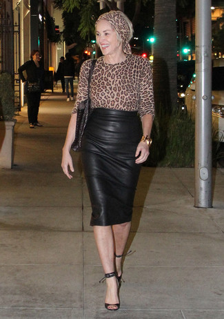 How to wear: tan leopard long sleeve blouse, black leather pencil skirt, black leather heeled sandals, black leather tote bag