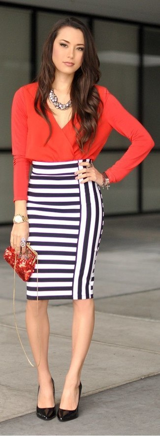 Reach for a red long sleeve blouse and a white and navy striped pencil skirt for a work-approved look. Round off this look with black leather pumps.