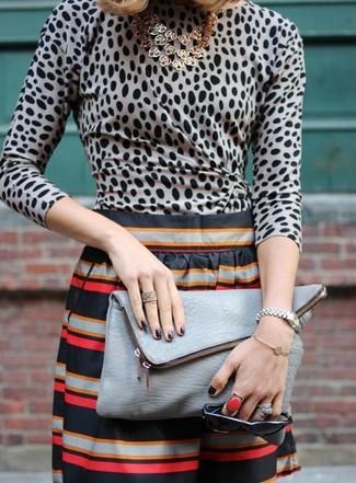 Women's Grey Leopard Long Sleeve Blouse, Black Horizontal Striped Shorts, Grey Snake Leather Clutch, Gold Necklace
