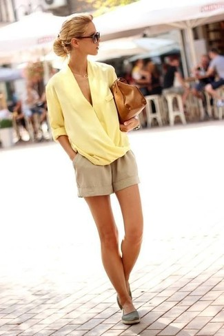 Women's Yellow Long Sleeve Blouse, Beige Shorts, Olive Espadrilles, Brown Leather Satchel Bag