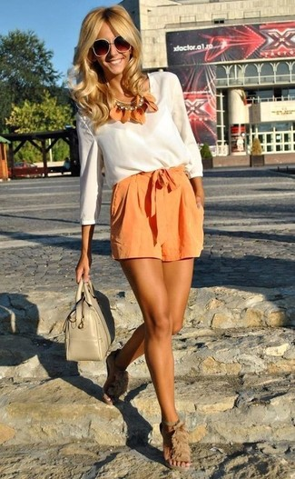 How to wear: white long sleeve blouse, orange shorts, beige mesh heeled sandals, beige leather satchel bag
