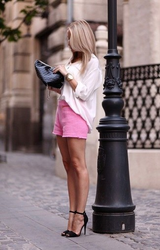 Hot Pink Shorts Outfits For Women: If you're looking for a laid-back and at the same time stylish look, pair a white long sleeve blouse with hot pink shorts. Now all you need is a great pair of black suede heeled sandals to complement this ensemble.